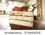 vegetables on table in kitchen  | Shutterstock . vector #574443019
