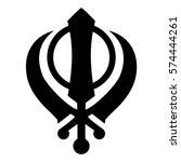 Vector illustration black silhouette Khanda Sikh icon isolated on white background. Religious symbol.