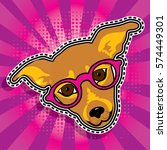 pop art fashion chic lady dog... | Shutterstock .eps vector #574449301