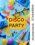 disco party text on a yellow... | Shutterstock . vector #574449844