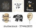 set of motivational and... | Shutterstock .eps vector #574462855