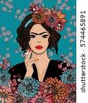 pop art maria callas style... | Shutterstock .eps vector #574465891