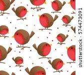 seamless cute bird robin design ... | Shutterstock .eps vector #574473091