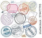 travel stamps or adventure... | Shutterstock .eps vector #574477795