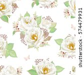seamless pattern with white... | Shutterstock .eps vector #574479931