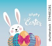 easter bunny and painted eggs... | Shutterstock .eps vector #574481281