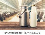 Fresh Milk Bottle And Can On...