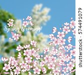 background with sakura. hand... | Shutterstock .eps vector #574491079