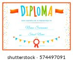 design children's diploma.... | Shutterstock .eps vector #574497091