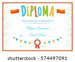 design children's diploma.... | Shutterstock .eps vector #574497091