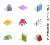 books icons set. isometric 3d... | Shutterstock .eps vector #574497871