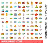 100 building icons set in... | Shutterstock .eps vector #574499329