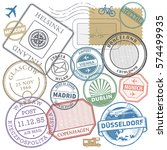 travel stamps or adventure... | Shutterstock .eps vector #574499935