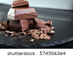 dark chocolate stack  chips and ... | Shutterstock . vector #574506364