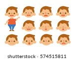little boy feelings set vectors | Shutterstock .eps vector #574515811
