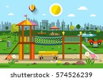 playground in city park vector | Shutterstock .eps vector #574526239