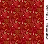 valentine day pattern with... | Shutterstock .eps vector #574538821