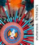 Small photo of native american indian chief headdress. detail feather and dream catcher. decoration Redskins