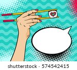 pop art background with female... | Shutterstock .eps vector #574542415
