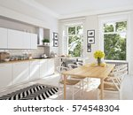 3d rendering of modern kitchen... | Shutterstock . vector #574548304