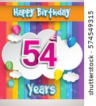54 years birthday celebration ... | Shutterstock .eps vector #574549315