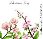 watercolor botanical background.... | Shutterstock . vector #574550155