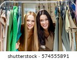 young beautiful women at the... | Shutterstock . vector #574555891