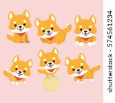 Stock vector shiba inu dog cartoon set vector 574561234