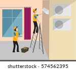 two workers repairing the air... | Shutterstock .eps vector #574562395