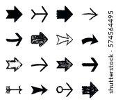set of sixteen black arrow sign ... | Shutterstock .eps vector #574564495