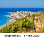 rhodes town windy beach on... | Shutterstock . vector #574569829