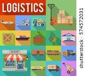 cargo transport  packaging ... | Shutterstock .eps vector #574572031