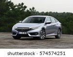 Small photo of ISTANBUL - FEBRUARY: The new Honda Civic with the tenth generation of gray color. February, 2017 Istanbul. Japanese automotive brand established by Soichiro Honda