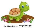 Stock vector cute tortoise cartoon 574575277