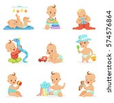 adorable girly cartoon babies... | Shutterstock .eps vector #574576864
