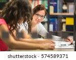 group of university students... | Shutterstock . vector #574589371