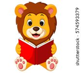 Stock vector lion reading book 574593379