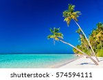 tropical island with coconut... | Shutterstock . vector #574594111