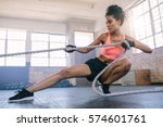 shot of young fitness female... | Shutterstock . vector #574601761
