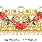 seamless pattern. golden... | Shutterstock . vector #574602241