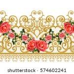 seamless pattern. golden... | Shutterstock . vector #574602241