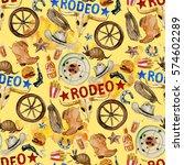 rodeo. watercolor seamless... | Shutterstock . vector #574602289