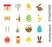 spring easter objects. vector... | Shutterstock .eps vector #574603309