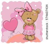greeting card cute teddy bear... | Shutterstock . vector #574607434