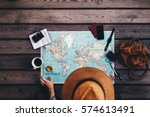 young woman planning vacation... | Shutterstock . vector #574613491
