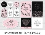 set of valentine's day cards ... | Shutterstock .eps vector #574619119