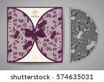 laser cut invitation card.... | Shutterstock .eps vector #574635031