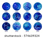 zodiac icons on watercolor... | Shutterstock .eps vector #574639324