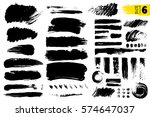 set of black paint  ink brush... | Shutterstock .eps vector #574647037