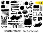 set of black paint  ink brush... | Shutterstock .eps vector #574647061